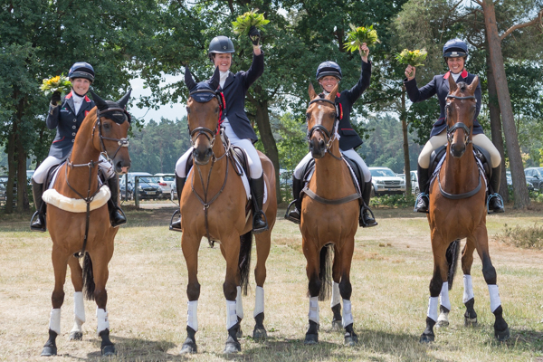 Laura Collett 2nd, Willa Newton 5th, Ros Canter 3rd & Kitty King 4th © Trevor Holt