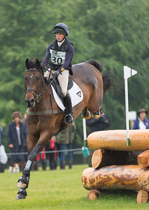 Rosalind Canter (GBR) riding Allstar B taking part in the Cross Country phase of the CCI three star competition at the Bramham International Horse trials 2015