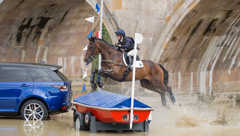 Rosalind Canter (GBR) and  Allstar B  competing in the  Cross Country phase of the Land Rover Burghley  Horse Trials on Saturday 5th September 2015 in Stamford, Lincolnshire, England