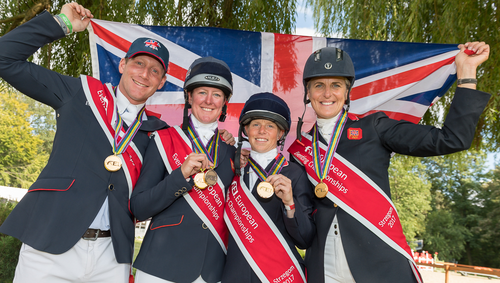Team GB with flag, European Championships 2017